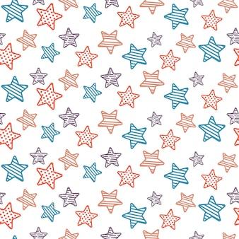 Estrelas desenhadas à mão sem costura de fundo