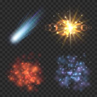 Estrelas do espaço, cometa e explosão em fundo xadrez de transparência. ilustração de luz estelar, explosão de cometa, estrela de galáxia, nebulosa e explosão de meteoro
