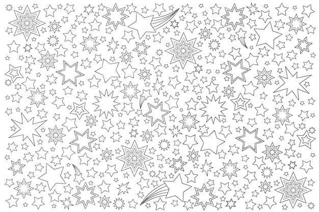 Estrelas doodle conjunto