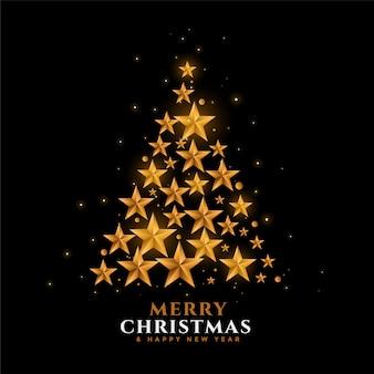 Estrelas douradas árvore de natal festival fundo