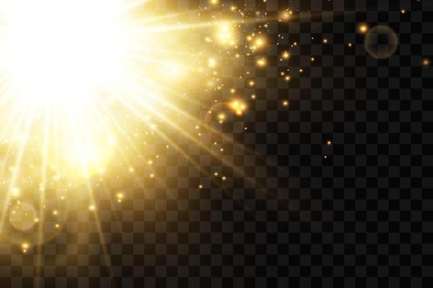 Estrelas douradas brilham com efeito de luzes brilhantes sol