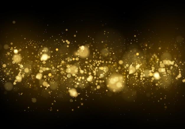Estrelas douradas brilham com luz especial. partículas de poeira mágica cintilantes com efeito bokeh.