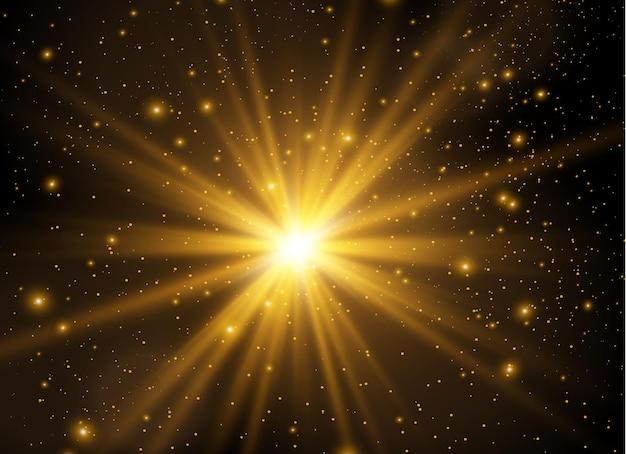 Estrelas douradas brilham com luz especial partículas de poeira mágica cintilantes estoque interior