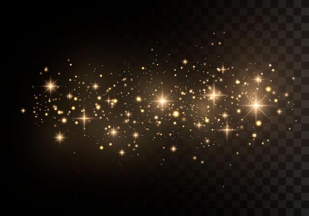 Estrelas douradas brilham com luz especial. partículas de poeira mágicas cintilantes.