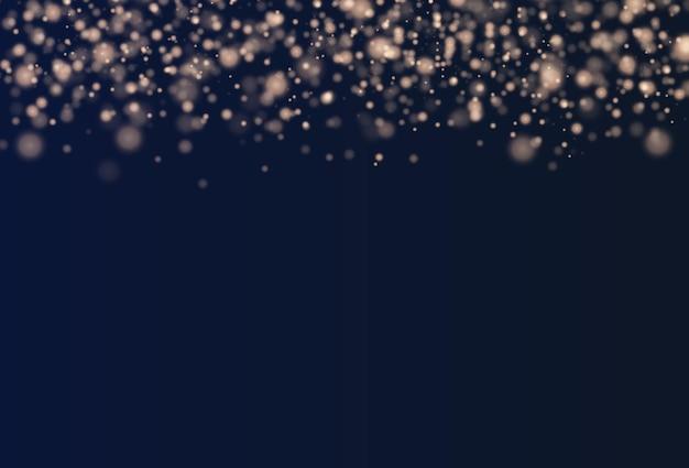 Estrelas douradas brilham com luz especial partículas de poeira mágicas cintilantes