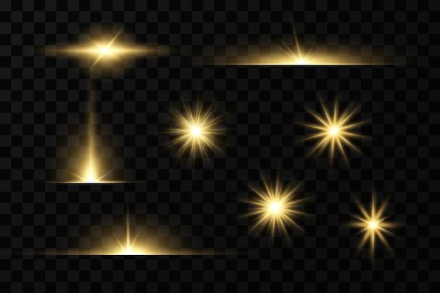 Estrelas douradas brilhando efeitos de luz brilho brilho explosão luz dourada ilustração vetorial