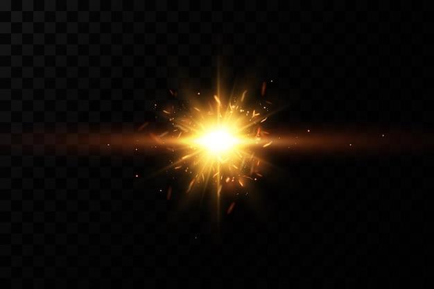 Estrelas douradas brilhantes. efeitos, brilho, linhas, brilho, explosão, luz dourada.