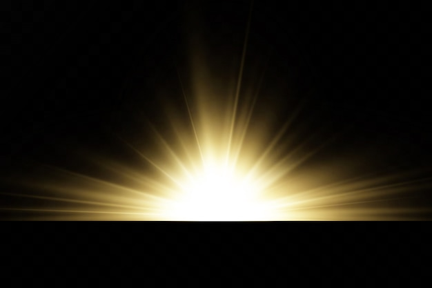 Estrelas douradas brilhantes isoladas em fundo preto. efeitos, brilho, linhas, brilho, explosão, luz dourada. ilustração em vetor. conjunto.