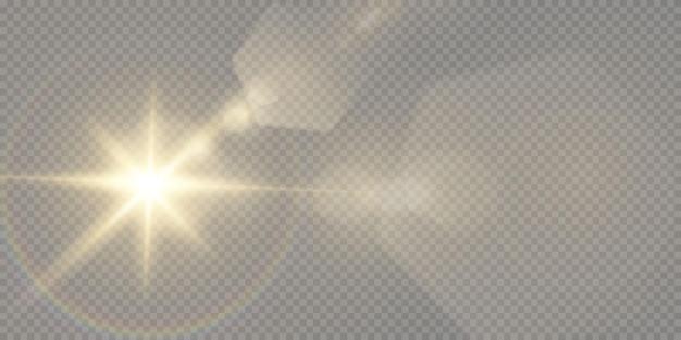 Estrelas douradas brilhantes isoladas em fundo preto. efeitos, reflexo de lente, brilho, explosão, luz dourada, conjunto. estrelas brilhantes, lindos raios dourados.