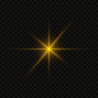 Estrelas douradas brilhantes isoladas em fundo preto.