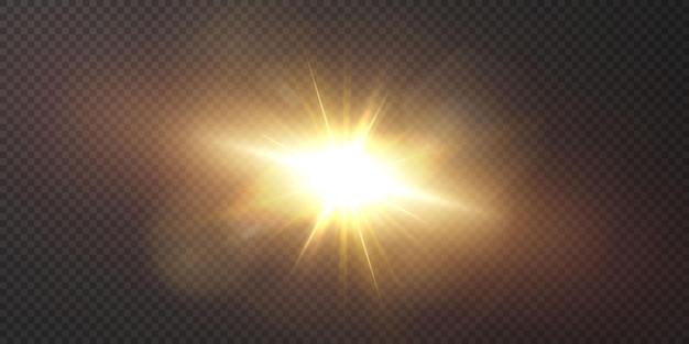 Estrelas douradas brilhantes isoladas em fundo preto. Vetor Premium