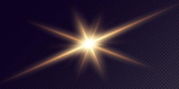 Estrelas douradas brilhantes isoladas em um fundo preto conjunto festivo luz estrela laser abstrato