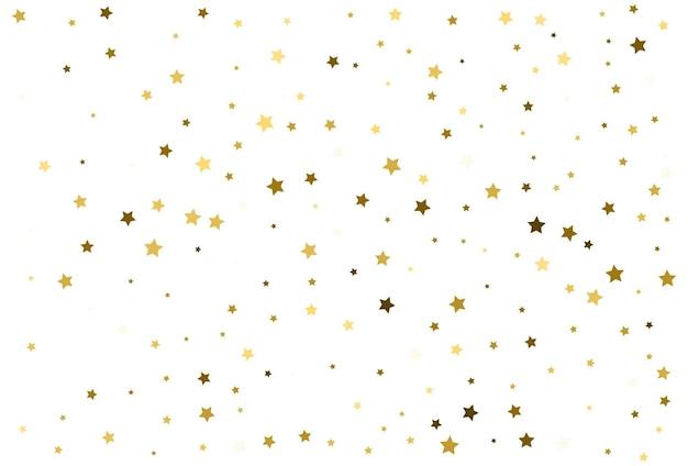 Estrelas douradas cadentes. celebração de confete de ouro. decoração do festival. vetor
