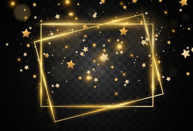 Estrelas douradas caem. moldura dourada.