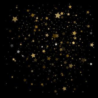 Estrelas douradas. celebração de confete.