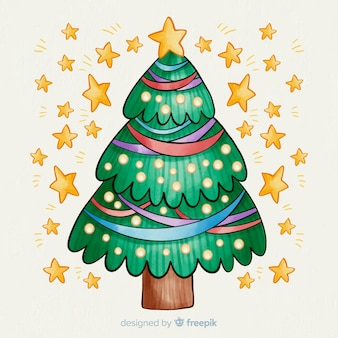 Estrelas douradas com aquarela árvore de natal