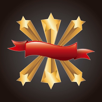 Estrelas douradas com fita vermelha sobre vetor de fundo preto