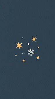 Estrelas douradas com floco de neve