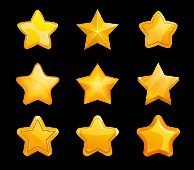 Estrelas douradas da classificação do jogo, conjunto de interface do usuário