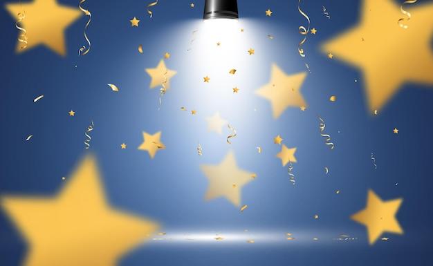 Estrelas douradas de confete caem. flâmulas caindo no palco.