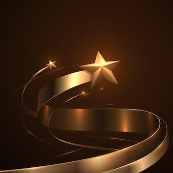 Estrelas douradas e fitas com efeito de brilho