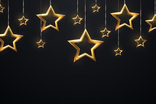 Estrelas douradas penduradas cintilantes