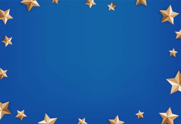 Estrelas douradas sobre fundo azul. quadro de vetor de mensagem de mídia social