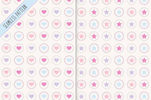Estrelas e corações sem costura padrões definidos