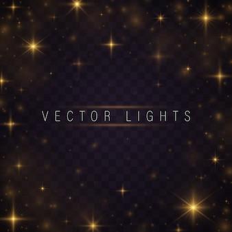 Estrelas e faíscas amarelas brilham efeito de luz especial.