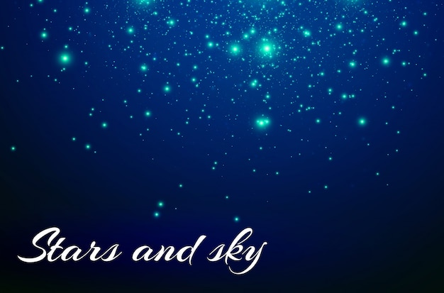 Estrelas e faíscas azuis brilham efeito de luz especial. partículas de poeira mágica cintilante.