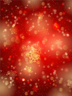 Estrelas e flocos de neve no fundo vermelho borrada