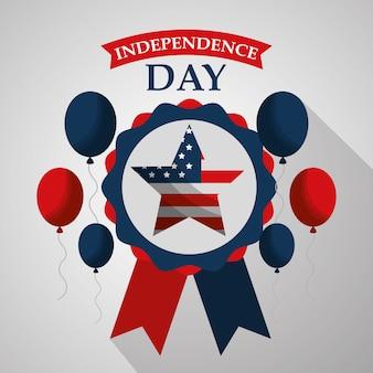 Estrelas em balões de roseta voando o dia da independência americana