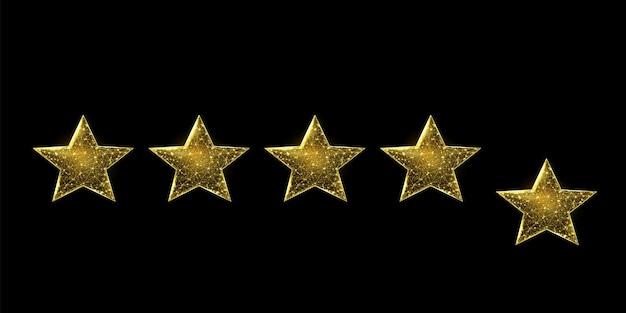 Estrelas em wireframe, estilo low poly. sucesso, ganhe o conceito de símbolo. ilustração em vetor 3d moderna abstrata em fundo azul escuro.