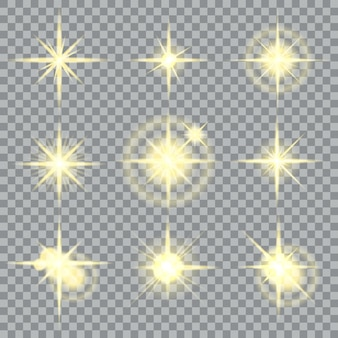 Estrelas estouram brilhos amarelos e efeitos de luz brilhantes