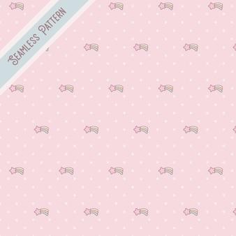 Estrelas fofas e pontos sem costura padrão