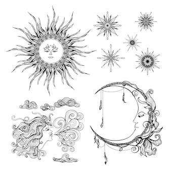Estrelas lua e vento