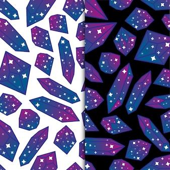 Estrelas mágicas e pedras preciosas de diamante do céu noturno e pedras de cristal premium vector