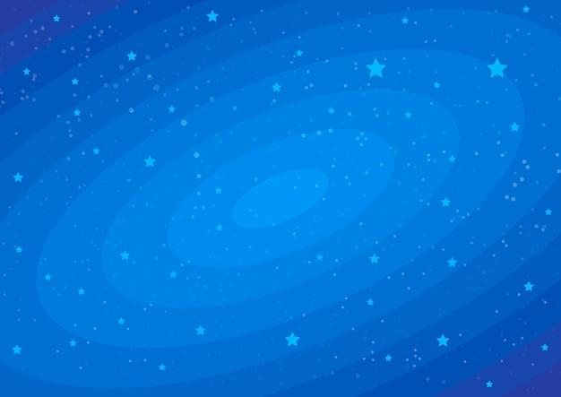 Estrelas no pano de fundo cósmico azul escuro.