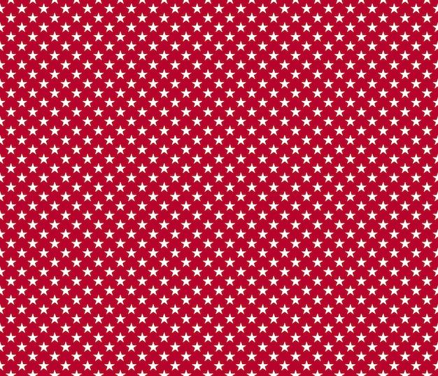 Estrelas patrióticas americanas sem costura padrão branco sobre fundo vermelho