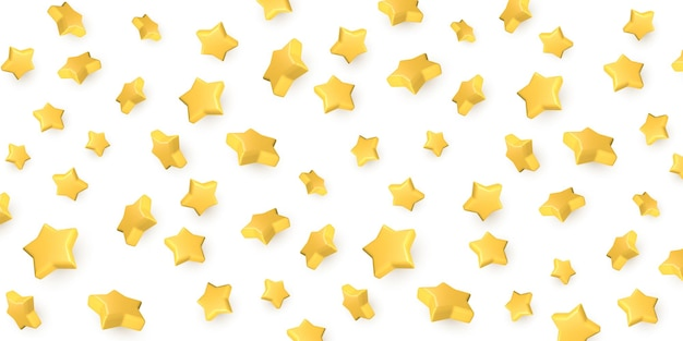 Estrelas voadoras douradas 3d. estrela amarela 3d realista.