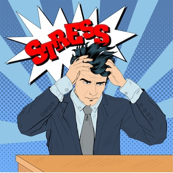 Estressado homem no trabalho em estilo pop art