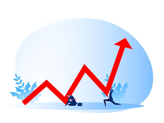 Estresse de empresário com pessoas empurra a seta vermelha para cima financeira