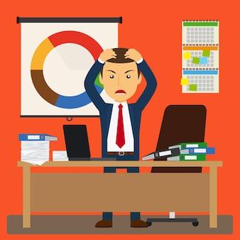 Estresse de empresário no trabalho.