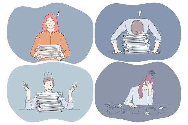 Estresse, excesso de trabalho, exaustão, conceito de sobrecarga.