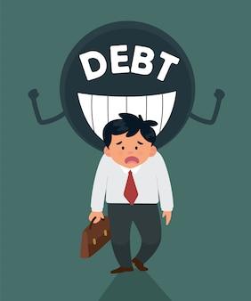 Estresse jovem trabalhador por causa da dívida