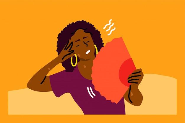 Estresse mental, calor, desidratação, conceito de inconveniência
