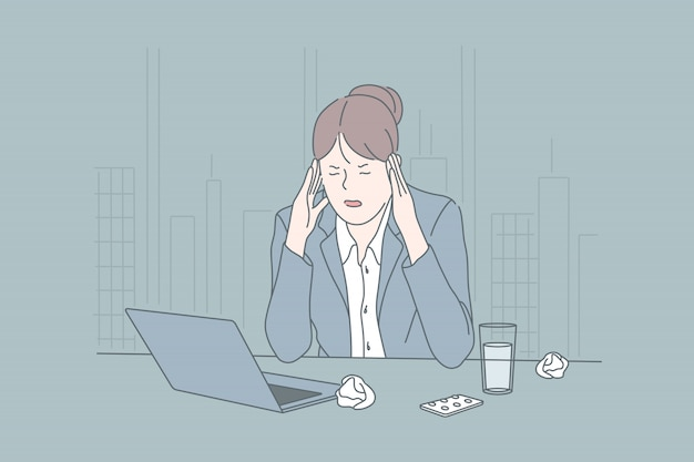 Estresse, negócios, estado psicológico, brainstorming, conceito de enxaqueca