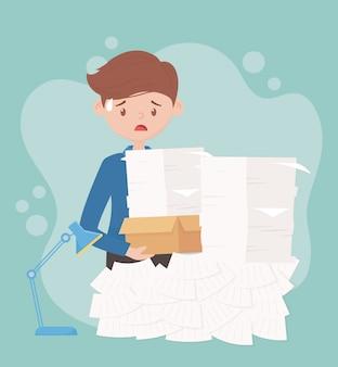 Estresse no trabalho, empresário carregando documentos empilhados documentos trabalhando