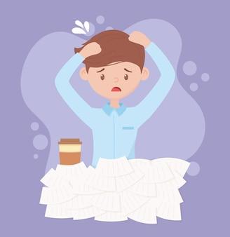 Estresse no trabalho, estressado empresário com muitos papéis e xícara de café