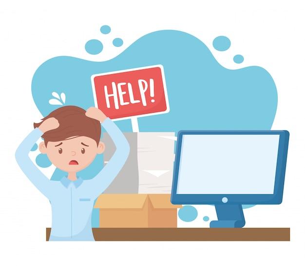 Estresse no trabalho, homem preocupado com a pilha de documentos de computador de placa de ajuda